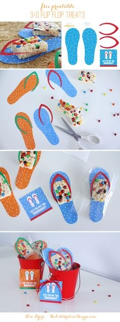 Free printable Flip Flop treat bags with Rice Krispies Treats are perfect for a summer BBQ or swim party. From The Celebration Shoppe. Diy Bag Gift, Diy Gifts, Fun Party Themes, Ideas Party, Gift Ideas, Party Games, Rice Krispie Treats, Rice Krispies, Do It Yourself Crafts