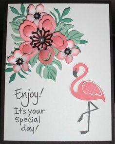 I already had the flamingo stamps & dies so didn't need to order from SU. The glossy accents is used to make sure the pearls stay in place. I love making tropical cards!