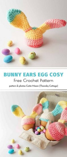 Easy Easter Eggs and Bunnies Free Patterns Easter Crochet Patterns, Crochet Vest Pattern, Free Pattern, Bunny Crafts, Easter Crafts, Crochet Toys, Free Crochet, Easter Bunny Eggs, Bunnies