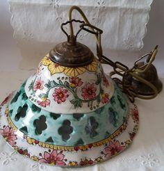 Lampadario in ceramica,foggiato al tornio,traforato e dipinto a mano, by ilciliegio, 90,00 € su misshobby.com