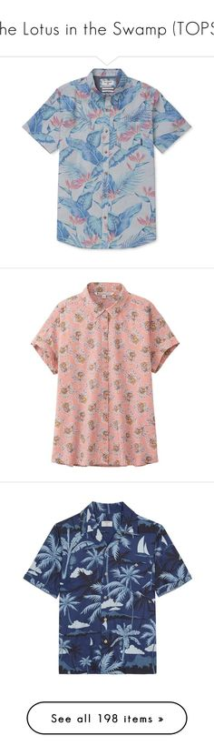 """""""The Lotus in the Swamp (TOPS)"""" by mckenzi-blueh ❤ liked on Polyvore featuring men's fashion, men's clothing, men's shirts, men's casual shirts, blue, mens blue shirt, mens hawaiian shirts, tops, shirts and mens short sleeve cotton shirts"""