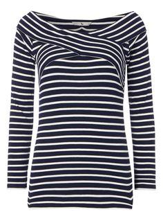 Womens Navy Bardot Stripe Top   Tu clothing