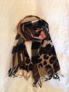 BURBERRY check and leopard print cashmere muffler bought in Vienna