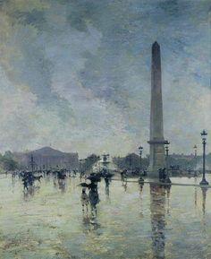 Musée des Beaux-arts de Pau- Alfred Smith - L'averse (place de la concorde) - 1888