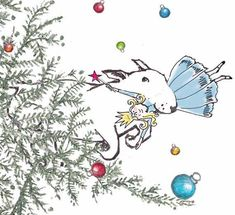 Bull Terrier Fun Christmas Card Set Bullie Run by TheTerriersClub, $12.00