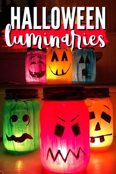These Halloween luminaries are bright, colorful and easy to make! Make different faces for your Halloween luminaries for a fun collection of ghouls! #halloween #luminaries #kidscrafts #paintedjar #masonjar #paintingonglass #halloweendecor #craftsbyamanda Diy Halloween Decorations, Halloween Diy, Halloween Tricks, Halloween Goodies, Happy Halloween, Halloween Costumes, Crafts For Boys, Projects For Kids, Diy Projects