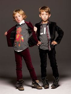Speaking of fashion-designer and pop-star mom Stefani, her boys take suiting up to a whole new level. Bring out your tyke's edgy, rocker side with La Miniatura's cool graphic tees and slim-cut velvet jacket and pants. Rugged work boots not included.