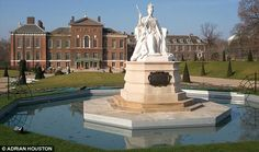 Kensington Palace. In front of the new public entrance stands a statue of Queen Victoria sculpted by her daughter Princess Louise.