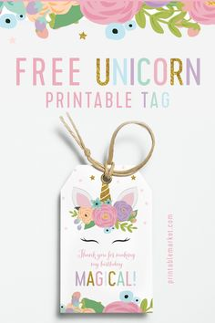 Make your unicorn favors magical with these adorable printable tags! Diy Unicorn Birthday Party, Unicorn Party Bags, Birthday Tags, Birthday Favors, 1st Birthday Parties, Birthday Party Decorations, 7th Birthday, Birthday Ideas, Birthday Thank You