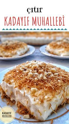 Crispy Kadayıf Pudding (Great Creamy) # Çıtırkadayıfmuhalleb of desserts the faciles gourmet de cocina de postres faciles pasta saludables vegetarianas Food Cakes, Raffaello Dessert, Turkish Recipes, Ethnic Recipes, Cake Recipes, Dessert Recipes, Pudding Recipes, Good Food, Yummy Food