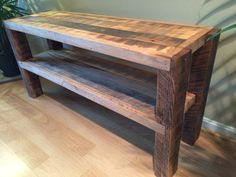 Reclaimed Wood Notched Leg Media Console / TV Stand w/