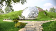 Modern Hobbit Homes - Dome homes - Glass Biodome Earth sheltered Grass roof Dome House