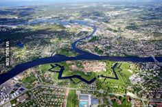 Aerial view of the city of Fredrikstad in Norway.