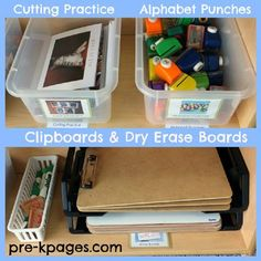 Materials for a writing center in preschool or kindergarten via www.pre-kpages.com