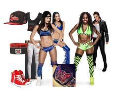 Ringside for Nikki Bella W/ Brie Bella Vs. Naomi W/ Tamina for the Diva's Championship. by jamiehemmings19 on Polyvore featuring Hollister Co., Converse and Champion