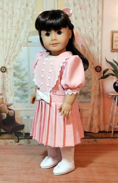 Pink Linen Dress for American Girl Doll by BabiesArtUs on Etsy, $48.00