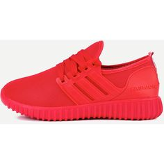 Red Mesh Lace Up Sneakers (360 ZAR) ❤ liked on Polyvore featuring shoes, sneakers, red, red wedge sneakers, red trainers, lace up shoes, wedge heel shoes and lace up sneakers