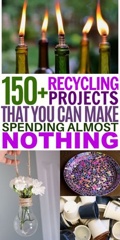 These upcycling crafts are a great way to celebrate Earth Day with your kids. From plastic bottle crafts to lightbulb DIYS to seed starters, there are so many ways you can re-use common household items! Recycled Crafts Kids, Recycled Gifts, Fun Crafts, Crafts For Kids, Plastic Bottle House, Plastic Bottle Crafts, Recycle Cans, Reuse Recycle, Mason Jar Crafts