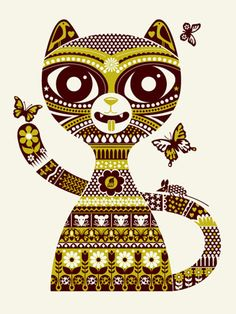 SPRING KITTY -GREEN « Limited Edition Art Posters « Methane Studios