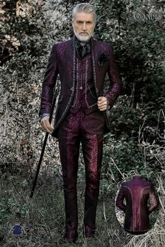 8b5dec1587 Baroque groom suit, vintage mao collar frock coat in purple jacquard fabric  with silver embroidery and crystal clasp
