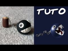 Chain Chomp from Mario Polymer Clay Figures, Polymer Clay Animals, Polymer Clay Miniatures, Fimo Clay, Polymer Clay Charms, Polymer Clay Jewelry, Clay Projects, Clay Crafts, Mario Bros