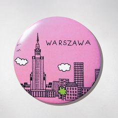 Fridge Magnet - Pink Panorama.  The colourful souvenir from Warsaw for your fridge or magnetic board. $10 zł.