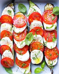 Grilled Zucchini Caprese- Fresh basil, mozzarella, garden tomatoes are layered over halved-zucchini and lightly drizzled with EVOO. Not only is the healthy fat loaded with polyphenols—antioxidants that help battle cancer, osteoporosis and brain deterioration—but research suggests it may also increase blood levels of serotonin, a hormone associated with satiety.