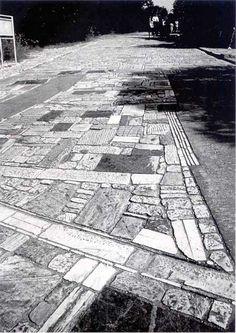 Dimitris Pikionis, Landscaping : Archaeological site around Acropolis & Filopappou Hill - Concrete Walkway, Stone Walkway, Concrete Building, Stone Path, Landscape Plaza, Urban Landscape, Landscape Architecture, Pavement Design, Paving Pattern