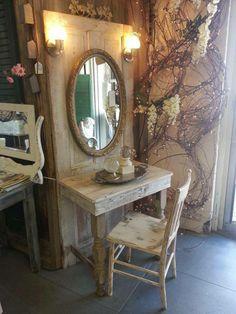 Vanity made from an old door! Love it! More by myrtle Vanity made from an old door! Love it! More by myrtle - Door Old Door Projects, Furniture Projects, Furniture Makeover, Home Projects, Furniture Websites, Repurposed Furniture, Rustic Furniture, Painted Furniture, Diy Furniture