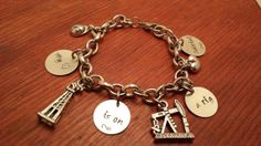 Hand stamped personalized oilfield charm by ByalittlebitofFaith, $37.00