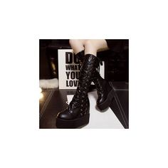 Platform Hidden Wedge Lace Up Tall Boots (115 CAD) ❤ liked on Polyvore featuring shoes, boots, footware, knee-high boots, knee-high lace-up boots, high heel boots, tall lace up boots, black lace up boots and black platform boots
