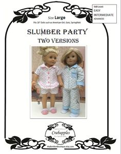 American Girl PDF Pattern for 18 inch doll Slumber Party- Instant Download on Etsy, $10.00