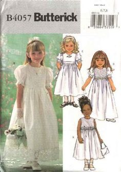 Butterick Sewing Pattern 4057 Girls Size 6-7-8 Easy Formal Confirmation Flowergirl Dress