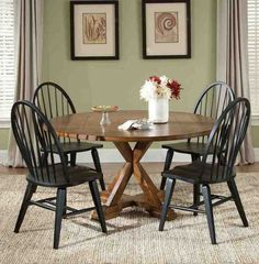 Shop for Liberty Furniture 5 Piece Pedestal Table Set, and other Dining Room Sets at North Carolina Furniture & Mattress in Newport News, VA. 5 Piece Dining Set, Dining Room Sets, Dining Table In Kitchen, Dining Room Furniture, Furniture Decor, Furniture Design, Windsor Dining Chairs, Black Dining Chairs, Rustic Farmhouse Table