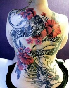 Inwrought black dragon and red flowers tattoo on whole back