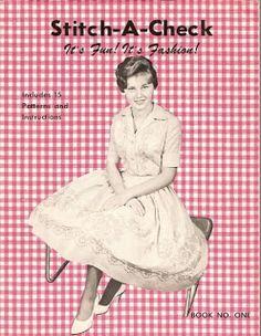 Lace 'n' Ribbon Roses: Chicken Scratch/Gingham Stitch Patterns  Stitch-A-Check  1961