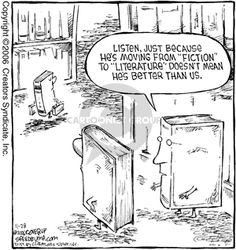 """Listen, just because he's moving from """"fiction"""" to """"literature"""" doesn't mean he's better than us. :: Shelves, books, category, classification. From @The Cartoonist Group"""