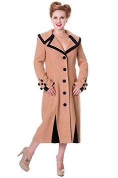 Banned Long Vintage Button Coat - Black or Camel - Camel - UK 14 / US 10 / EU 40 Leather Trench Coat, Wool Coat, 1920s Fashion Women, Womens Fashion, Coats For Women, Jackets For Women, Ladies Coats, Opera Coat, Coat Dress