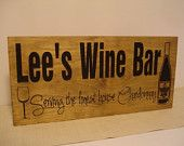 Personalized Wine Bar Sign Chardonnay Wine Glass carved Wooden Sign Wine Bridesmaid Gifts 5th Anniversary Birthday Housewarming gift #23