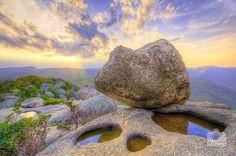 Sunset at the summit of Old Rag Mountain, Virginia.