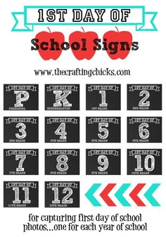 1st day of school signs! Fun for first day of school pictures!