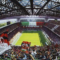 MILANO, STADIO GIUSEPPE MEAZZA SAN SIRO - Artwork by artist Andrea Del Pesco Oil painting on canvas, size cm. 90x90