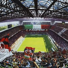 MILANO, STADIO GIUSEPPE MEAZZA SAN SIRO - Artwork by artist Andrea Del Pesco Oil painting on canvas, size cm. 90x90