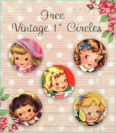 Free 1 inch Pretty Vintage Little Girl Circles #vintage #clipart #cute #baby #girl