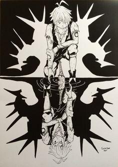 """Illustrazione per il concorso """"The seven deadly sins"""" .Il disegno è stato spedito alla redazione giapponese Shonen Magazine, rivista che pubblica il manga, in cui il disegnatore Nakaba Suzuki sceglierà personalmente il disegno per pubblicarlo nel volume 20. In Italia il volume uscirà nell'agosto 2017.Illustration for the contest """"The seven deadly sins"""".The design was sent to the Japanese editors Shonen Magazine, which publishes the manga, where the designer Nakaba Suz..."""