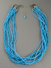 Turquoise Nugget & Seed Bead Necklace at www.Southwest Silver Gallery.com