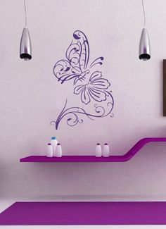 Vinyl Aufkleber abstrakte Schmetterling auf Blume-Startseite Wand Dekor abnehmbare stilvolle Aufkleber Wandbild einzigartiges Design für jed...
