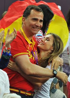 Pin for Later: 15 Reasons to Fall in Love With Spain's New King and Queen  Letizia and Felipe shared a big embrace while watching Spain beat Russia during during the Olympic basketball semifinals in August 2012.