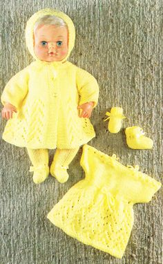 Items similar to PDF Vintage Doll Clothes & Premature Baby Knitting Pattern Emu 6688 Yellow Dress Matinee Pram Set Lacy EASY Leggings Pull Ups on Etsy Knitting Dolls Clothes, Crochet Doll Clothes, Knitted Dolls, Doll Clothes Patterns, Doll Patterns, Knitted Hat, 12 Inch Doll Clothes, Baby Doll Clothes, Knitting Wool