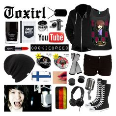 """""""Cookiebreed"""" by toxirl ❤ liked on Polyvore featuring American Apparel, Converse, Skullcandy, NYX, CellPowerCases, Jack Black, Coal, black, youtube and Youtuber"""